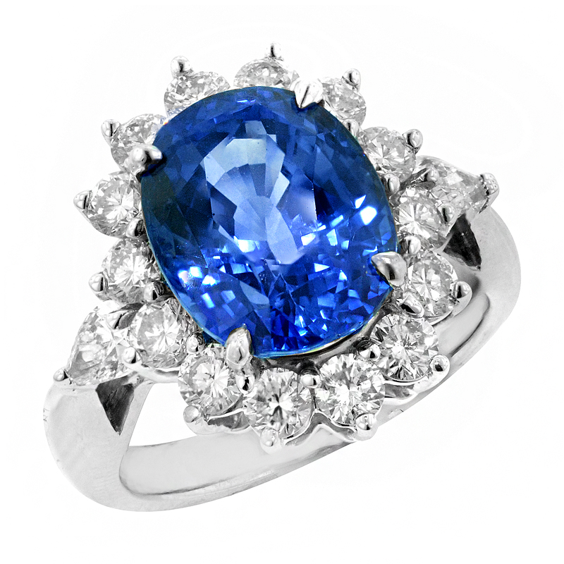 View A PLATINUM SAPPHIRE AND DIAMOND RING