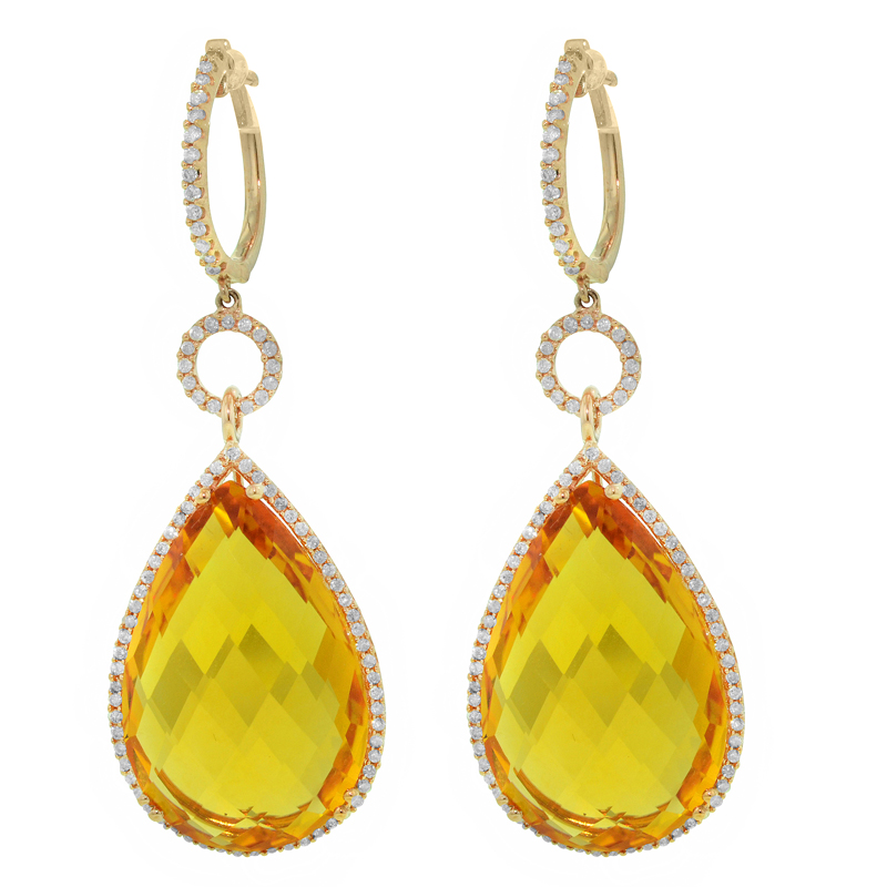 View AN 18KPG CITRINE AND DIAMOND EARRING