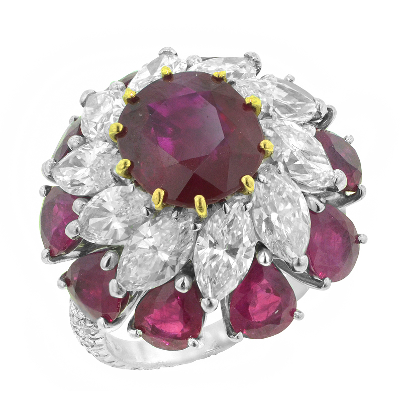 View BURMA RUBY AND DIAMOND RING
